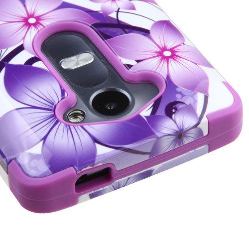LG Tribute 2, Risio, Leon, C40, Power, Destiny, Sunset Case - Wydan (TM) TUFF Hybrid Hard Shockproof Case Protective Heavy Duty Cover - Purple Flower w/ Wydan Prying Tool (Cover Sunset)