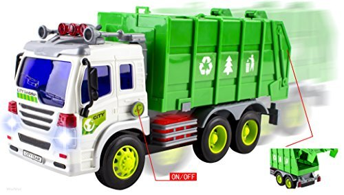 WolVol Friction Powered Garbage Truck Toy With Lights and Sounds For Kids (Can Open Back) by WolVol