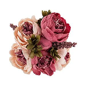 EZFLOWERY 1 Pack Artificial Peony Silk Flowers Arrangement Bouquet for Wedding Centerpiece Room Party Home Decoration, Elegant Vintage, Perfect for Spring, Summer and Occasions (1, Peach Pink) 85