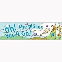 Eureka Dr. Seuss 'Oh, los lugares donde irá' Cartel de regreso a la escuela Suministros para el aula - Estandarte horizontal 45 '' x 12 ''