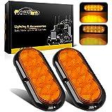 """Partsam 2Pcs 6 Inch Oval Led Trailer Lights Amber 10 LED Sealed 6"""" Oblong Led Stop Turn Signal Tail Marker Light 12V Flange Mount Waterproof 12V"""