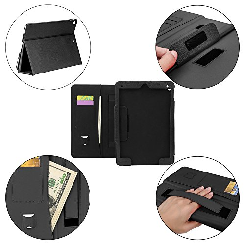 COCASES Case for iPad Pro 9.7 2016, iPad 9.7 2017, iPad Air, iPad 6th Gen 2018, PU Leather Flip Stand Smart Cover Auto Sleep/Wake Pencil Holder Hand Strap Card Slot Document Pocket Black 9.7'' by COCASES (Image #9)