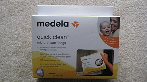 Medela Quick Clean Micro-Steam Bags Economy Pack of 4 (20 Bags Total) (Medela Bags For Microwave compare prices)
