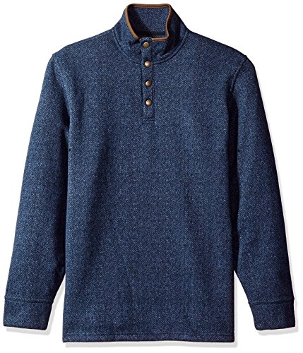 Arrow Men's Long Sleeve Sweater Fleece Printed Herringbone Snap Mock, Dark Navy, Small -