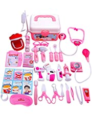 Shinehalo Medical Carrycase, Doctor Playsets for Children 36 PCS, Roles Play Doctor Dentist Nurse, Doctor Pretend Play Toys with Sound and Light Effects