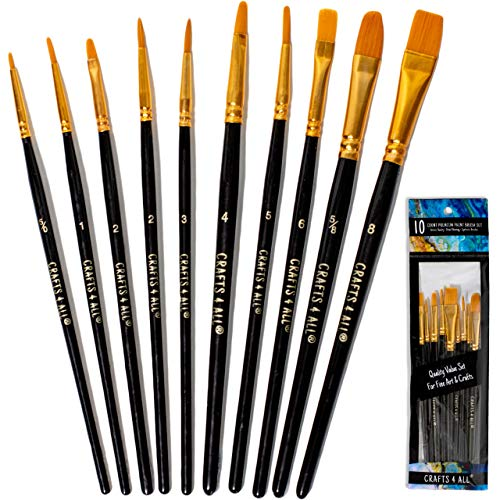 Crafts 4 All Paint Brushes Set Professional Fine Round Pointed Nylon Artist Brush Tips for Acrylic Watercolor and Oil Painting Knife and Sponge - Set of 18