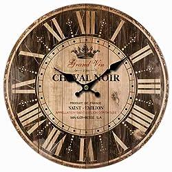 M&M Trading Wall Clock 13 Inch Grand Vin Cheval Noir