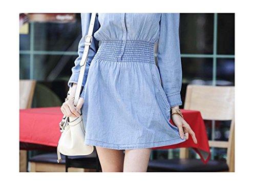Arjosa Longue Ceinture Élastique Femme Manches Moulante Denim Bleu Évasé Mini Robe