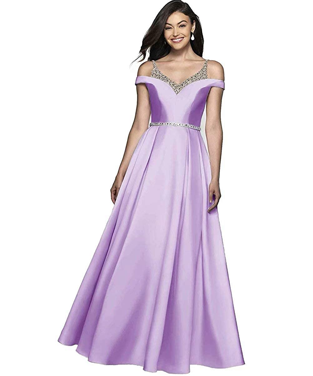 purplec JYDX Women's Cold Shoulder V Neck Pleated Satin ALine Evening Prom Dress Long Formal Party Gown with Beaded Bodice