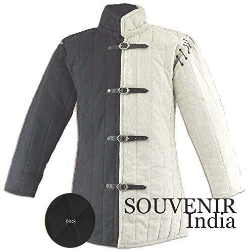 - Medieval Thick Padded Gambeson Coat Aketon Jacket Armor, Black - 3X-Large