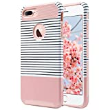 iPhone 7 Plus Case, ULAK Knox Armor Slim [Dual Layer] Protection [Scratch Resistant] Hard Back Cover [Shock Absorbent] TPU Bumper Case for Apple iPhone 7 Plus [5.5 inch]-Minimal Rose Gold Stripes