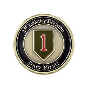"Military Challenge Coin, 1.75"" Metal: US Army 1st Infantry Division - ""The Big Red One"" - Manufactured by Military Contractor, Genuine Army Coins - ""Duty First!"""