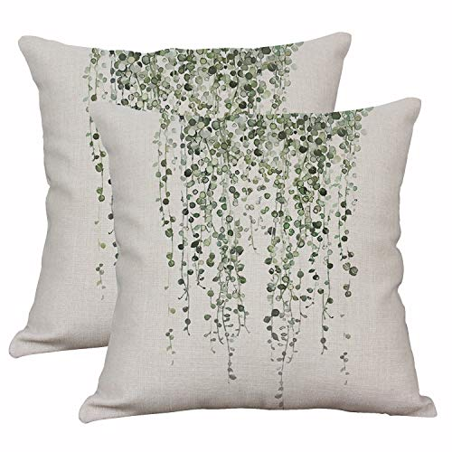 YeeJu Set of 2 Green Plant Throw Pillow Covers Decorative Cotton Linen Cushion Cover Outdoor Sofa Home Pillow Covers 20x20 Inch (Sage Green Decorative Pillows)