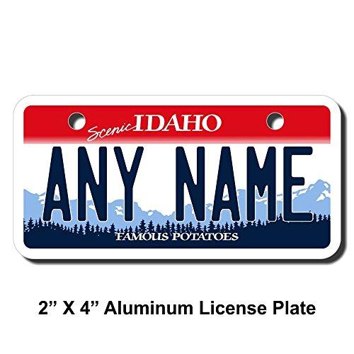 Idaho License Plate - TEAMLOGO Personalized Idaho License Plate - Sizes for Kid's Bikes, Cars, Trucks, Cart, Key Rings Version 1 (2 x 4 Aluminum License Plate)