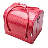 PU Leather Portable Cosmetic Bag For Cosmetics Large Capacity Women Travel Shoulder Makeup Bag Suitcase rose red