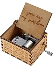 You are My Sunshine Wood Music Boxes,Laser Engraved Vintage Wooden Sunshine Musical Box Gifts for Birthday/Christmas/Valentine's Day (You are My Sunshine)