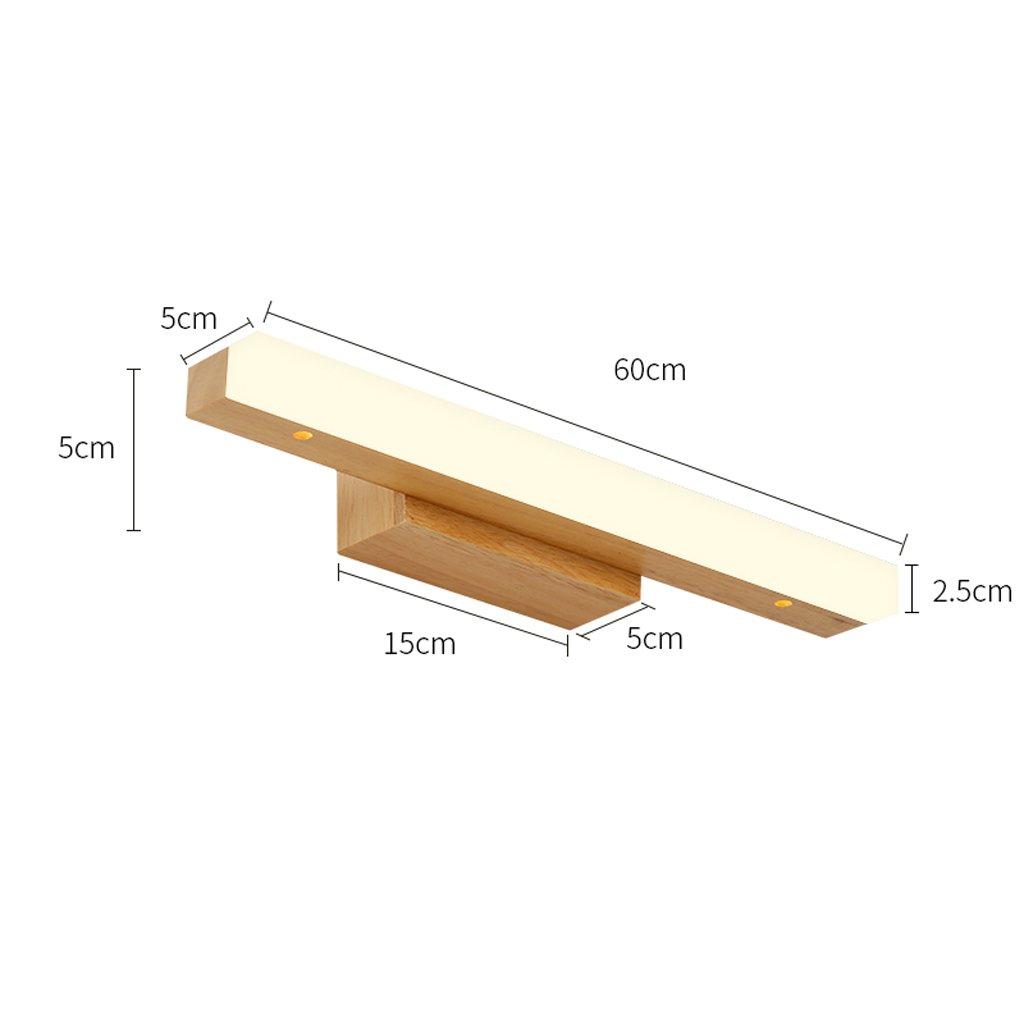 Solid Wood, Mirror Light, LED Wall Washer, Mirror Light Cabinet Light, Bathroom Simple Dresser Wall Light, Warm Light (Size : 60CM 10W) by Mingteng (Image #2)