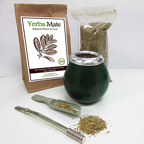 4Pc Argentina Yerba Mate Tea Gourd Cup Straw Bombilla 6oz Leaf Bag Kit Pack 4200