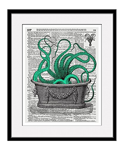 Octopus In The Tub 11x14 Inch Reproduction Vintage Dictionary Art Print With