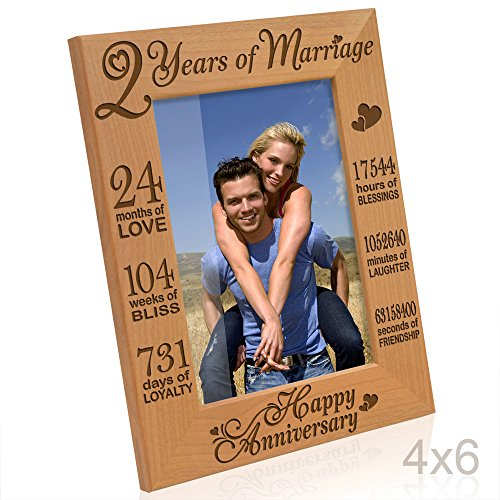 Kate Posh - Our 2nd Cotton Anniversary Engraved Picture Frame, 2 years together as Husband & Wife, 2 Years of Marriage, Happy second anniversary gifts for her, gifts for him, couple (4x6-Vertical)