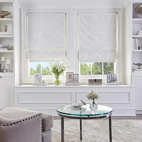 MISC 45 x 64 Ivory Damask Cordless Roman Shade Stylish Room Darkening Pull Down Blinds Child Safe Privacy Window Shade, 5ft 4in Long