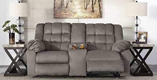 Ashley Furniture Signature Design – Mort Reclining Loveseat – Manual Reclining Couch – Contemporary Style – Charcoal