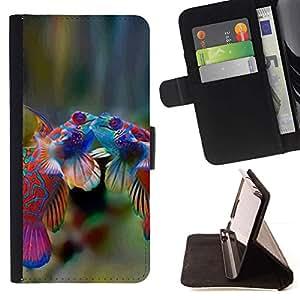 Momo Phone Case / Flip Funda de Cuero Case Cover - Pescados lindos Mar Buceo Amor Tropical Coral - Samsung Galaxy A3