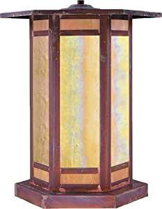 Arroyo Craftsman ETC-14GWC-RC Etoile Collection 1-Light Column Mount, Raw Copper Finish with Gold White Iridescent Glass