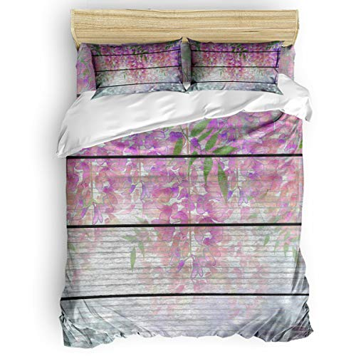 Bilagawa 4-Piece Duvet Cover Soft Bed Sheet Sets Easy Care,Wood Grain Effect,Wisteria Simple Style Bedding Set,Include 1 Flat Sheet 1 Comforter Cover and 2 Pillow Cases Twin Size