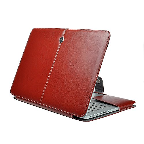 MacBook Air 11 Sleeve, IC ICLOVER Folio Cover Case for MacBook Air 11.6 inch - PU Leather Premium Quality with Microfiber Clip on Sleeve Filp Case Cover For MacBook Air 11.6 inch(A1465 A1370)-Brown
