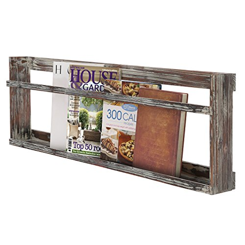 - Rustic Wall Mounted Torched Wood Magazine Book Display Rack Shelf with Railing