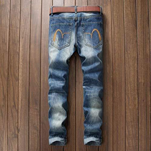 Especial Ssig Uomo Da Strappate Jeans E Lichtblau Fusioni Bobo Sottili Verniciati Estilo Sfilacciati Cher 88 Pantaloni Graffiti Diritti AxPwIFgqH
