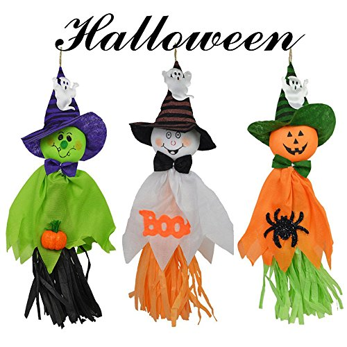 DegGod 3 Pcs Halloween Hanging Doll Decoration Set, Ghost Spook Witch Pumpkin Scarecrow Windsock Hanging Dolls Pendant for Halloween Home Party Decor Ornaments ()