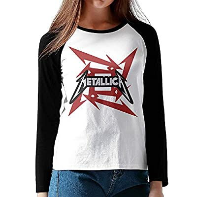 LOVEGIFTTO LADY Womens Metallica Rock Band O-Neck Long Sleeve Raglan Tee Shirt