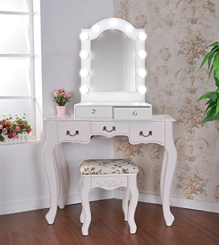 25 inch x 31 inch Lighted Hollywood Arch Vanity Mirror | Makeup Mirror With Storage| Table Top Or Wall Mount | Plug-in by Krugg (Image #3)