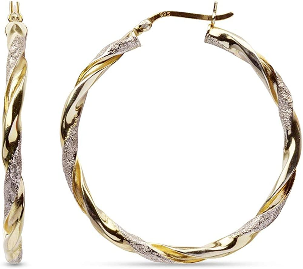 LeCalla Sterling Silver Jewelry Two Tone Light Weight Italian Design Hoop Earrings for Women