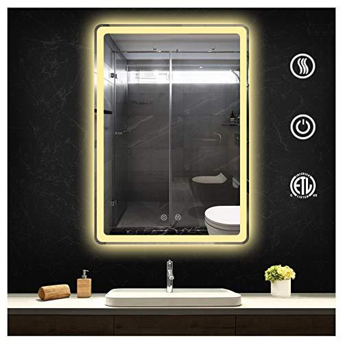 FAUCDUXYET Wall Mounted Led Lighted Bathroom Mirror Horizontal/Vertical Anti-Fog Make up Mirror -