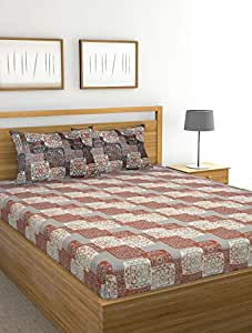 Raymond Home Rainbow 110 TC Polycotton Double Bedsheet with 2 Pillow Cover