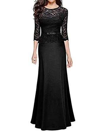 SEBOWEL Womens Retro Lace Evening Ball Gowns Peplum Wedding Party Maxi Dress adcebfc56046