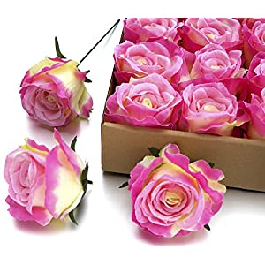 MaxFlowery Large Premium Silk Tea Roses with Wire Stems 20/ Box, Faux Handcrafted Flowers for Floral Arrangement Wedding Home Indoor Outdoor Decoration 73