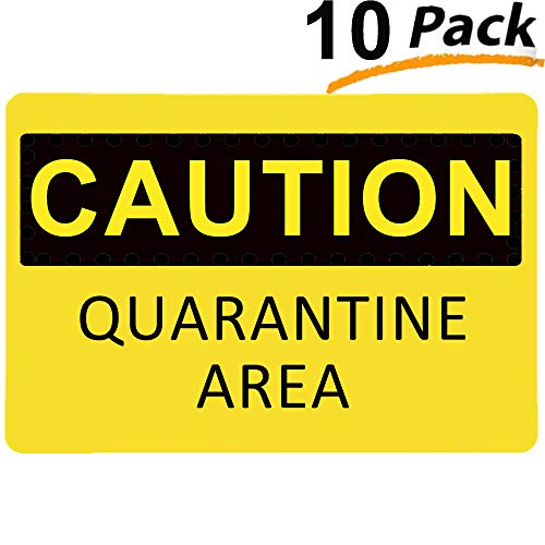 Caution Quarantine Area Sign (10 Pack), YTFGGY Safety Warning Sticker 8.7