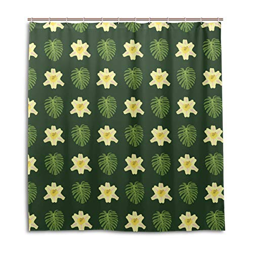 Amanda Billy Green Banana Leaf Lights Natural Home Shower Curtain, Beaded Ring, Shower Curtain 72 x 72 Inches, Modern Decorative Waterproof Bathroom Curtains