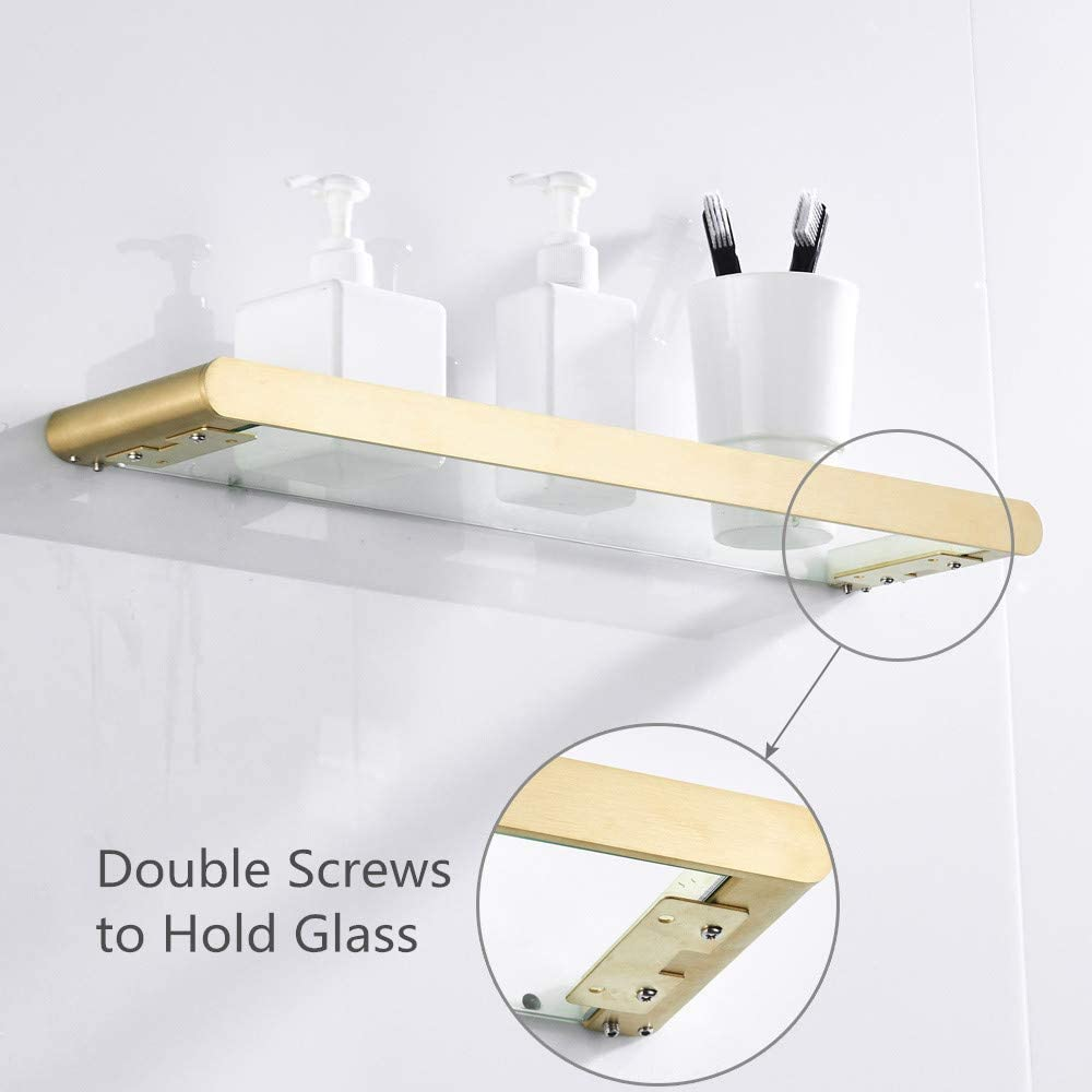 WOMAO Single Towel Hook, Brushed Gold finished Robe Hook, Clothes Hook of Solid Stainless Steel Wall Mounted for Bathroom Kitchen Bathroom Glass Shelf