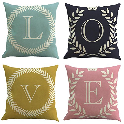 - SUNONE11 4 PCS English Letter Quotes LOVE Pillow Covers Decorative Olive Branch Crown Printed Pillowcase for Couch Back Cushion Protector Decor 17 x 17 inch