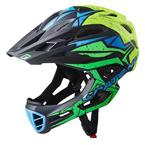 Cratoni C-Maniac Pro Downhill BMX fullfacehelm kinbeugel mountainbikehelm (zwart-groen-geel, M-L (54-58 cm)
