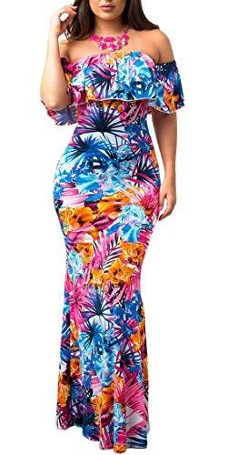 Jaycargogo Des Femmes De Robes Robes Imprimé Floral Épaule Hérissent Robe Maxi Cocktail 8