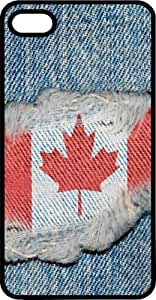 Canadian Flag Sewn On Blue Jeans Tinted Rubber Case for Apple iPhone 4 or iPhone 4s