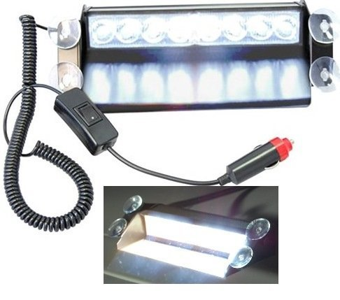 8 LED Warning Caution Car Van Truck Emergency Strobe Light Lamp For Interior Roof / Dash / Windshield (White)