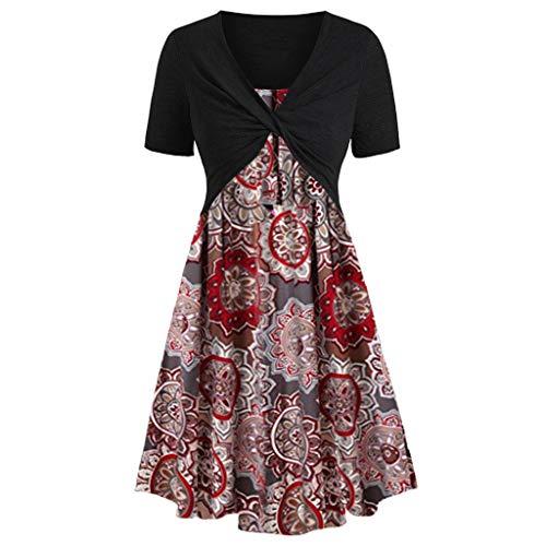 Women's Short Sve Front Criss Cross Top Floral Print ni Dress Suits Knee-Length Beach Ca Dress Sundress
