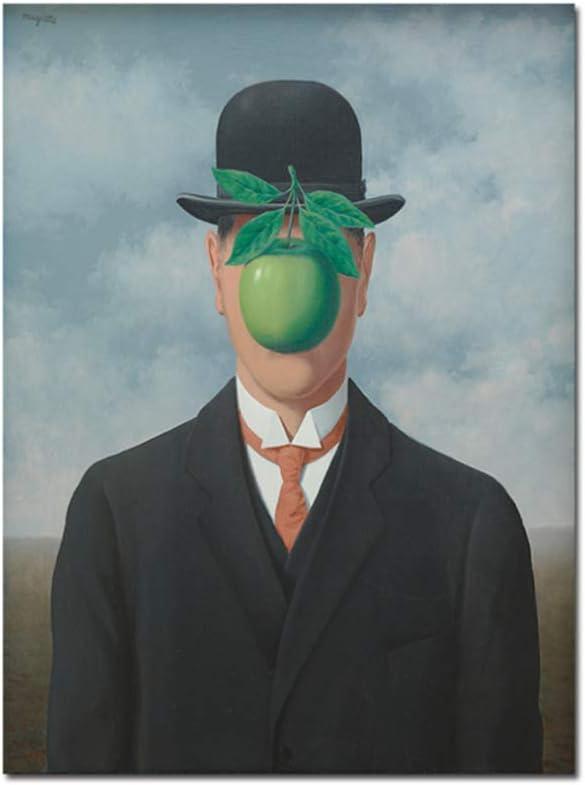 El hijo del hombre de René Magritte Pinturas en la pared Cuadros de lienzo para la sala de estar Impresiones artísticas y carteles Decoración-50x70cm Sin marco